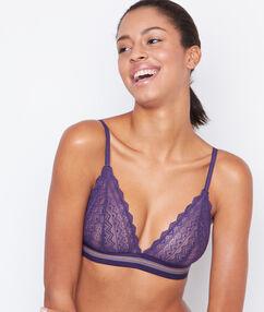Triangle sans armature dentelle, détail bande élastique coloré violet.