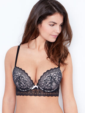 Padded d cup bra black/white.