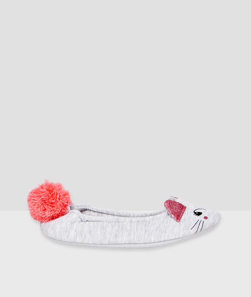 Mouse ballet flats with pompom;${refinementColor}