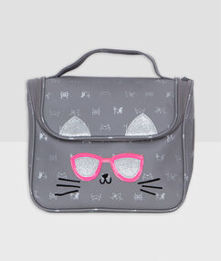 Cat toiletbag grey.