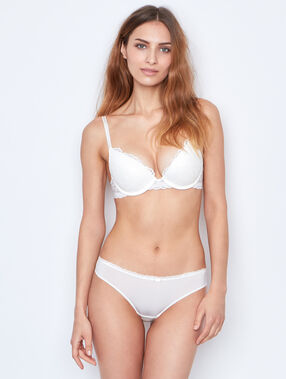 Lace push up bra white.