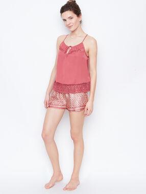 Satynowe szorty w deseń rose.