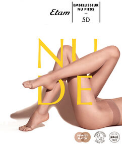 Collants voile effet jambes nues, bout ouvert naturel.