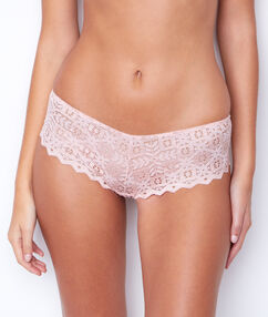 Shorty dentelle graphique rose.