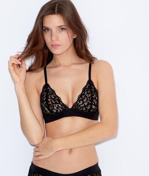 wireless lace triangle bra;${refinementColor}