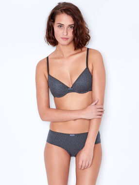 Polka dot cotton shorty grey.