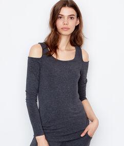 Camiseta manga larga hombros al descubierto antracita.