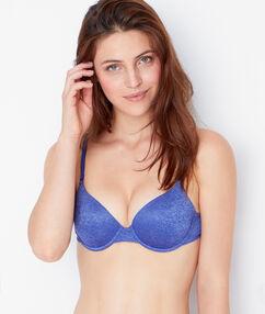Soutien-gorge ampliforme bleu chiné.