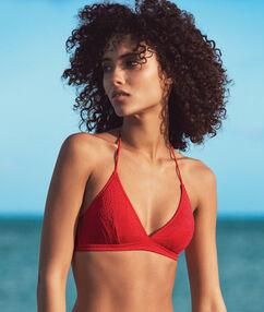 Haut de maillot de bain triangle matiéré cachemire sans armatures rouge.
