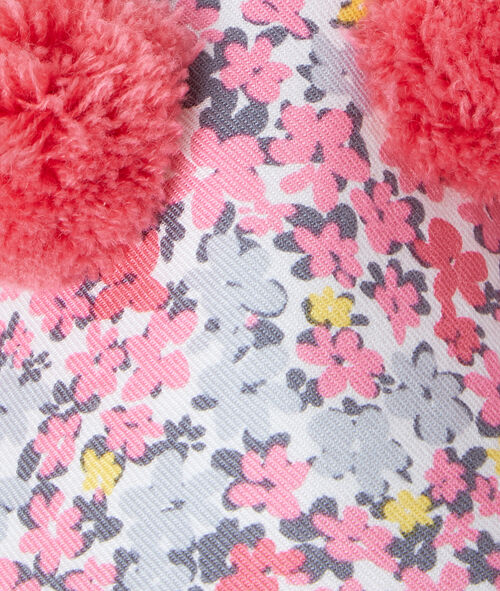 Floral print slippers with pompoms;${refinementColor}