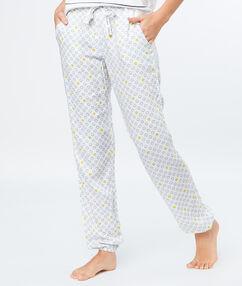 Pantalon imprimé smiley blanc.
