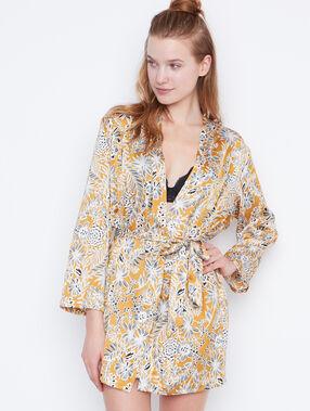 Déshabillé kimono satin imprimé jaune.