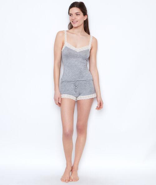 Lace pyjama shorts;${refinementColor}