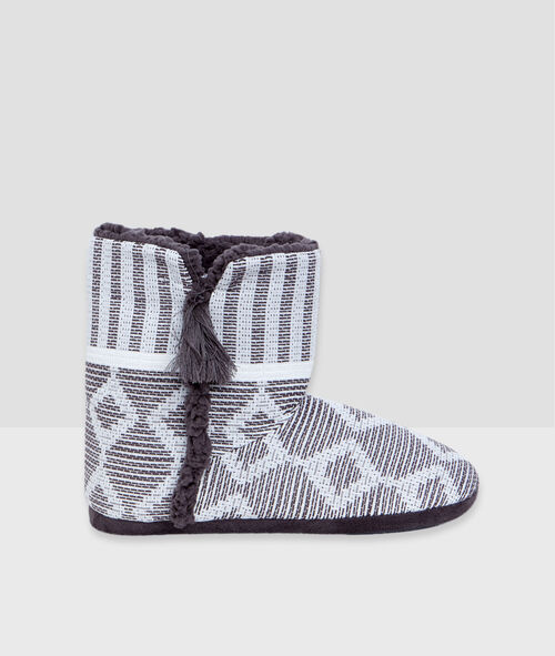 Graphic print slipper boots;${refinementColor}