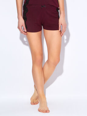 Short en modal, empiècements dentelle bordeaux.