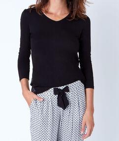 Klasyczna bluzka od piżamy ze wstawką z koronki noir.