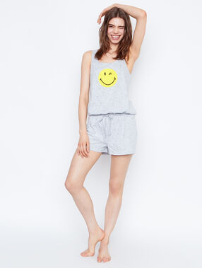 T-shirt imprimé smiley gris.