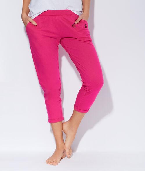 Pantalon 7/8 en coton mélangé, détails cœurs brodés