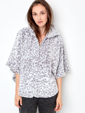 Printed wildcat poncho grey.