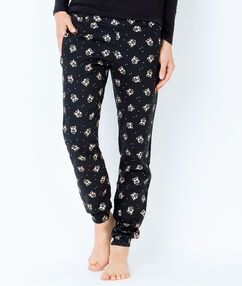 Pantalón estampado detalles brillantes negro.
