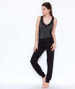 Spodnie z wiskozy ze ściągaczem u dołu noir.