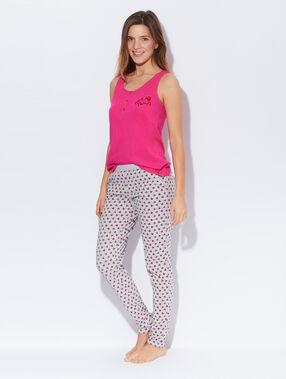 Pantalon en coton mélangé, imprimé coeurs gris/rouge/rose.