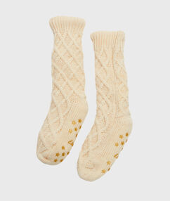 Chaussettes d'intérieur tricotées, doublées imitation fourrure ecru.