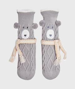 Chaussettes d'interieur gris.