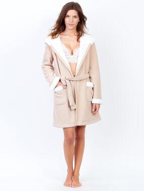 Fleece pyjama jacket beige.
