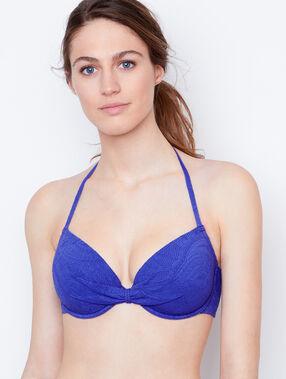 Demi cup bra, d cup blue.