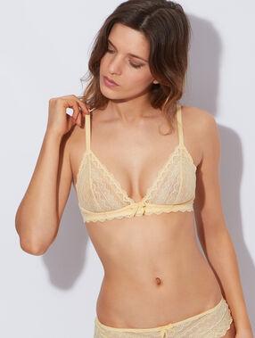 Soutien-gorge triangle armaturé jaune pâle.