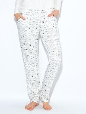 Pantalon imprimé, détails glitter écru.