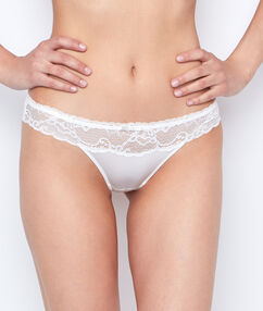 Lace and micro thong off white.