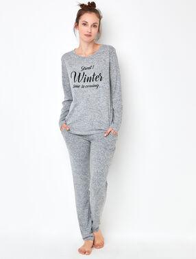 Pantalon façon jogging en maille chiné gris.