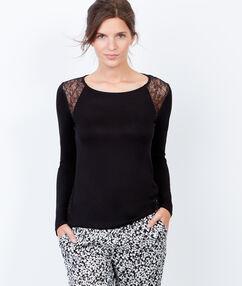Klasyczna bluzka od piżamy z koronką noir.