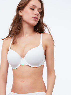 Padded demi cup bra, d&e cups white.
