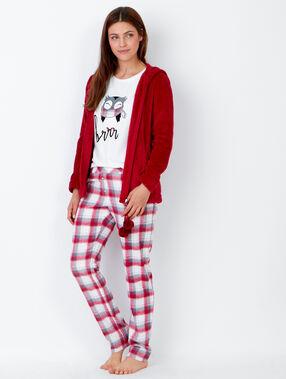 Piżama trzyczęściowa, spodnie w kratkę i bluza polarowa w dotyku rouge.