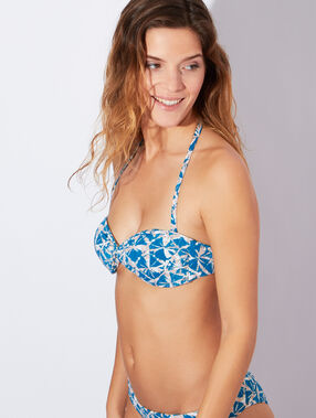 Haut de maillot de bain bandeau torsadé imprimé, bretelles amovibles bleu / beige.