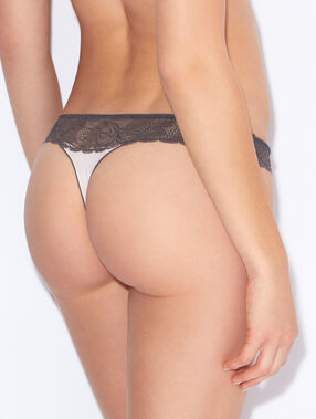 Lace and micro thong pink / grey.