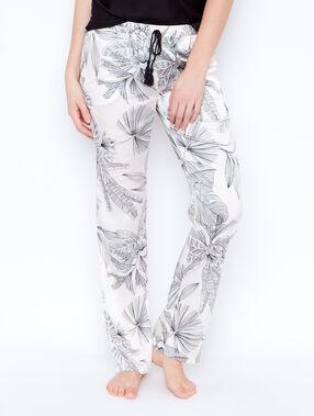 Printed pyjama pants ecru.