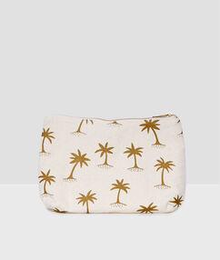 Pochette tissu imprimé palmiers beige.