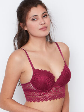 Padded demi cup bra purple.