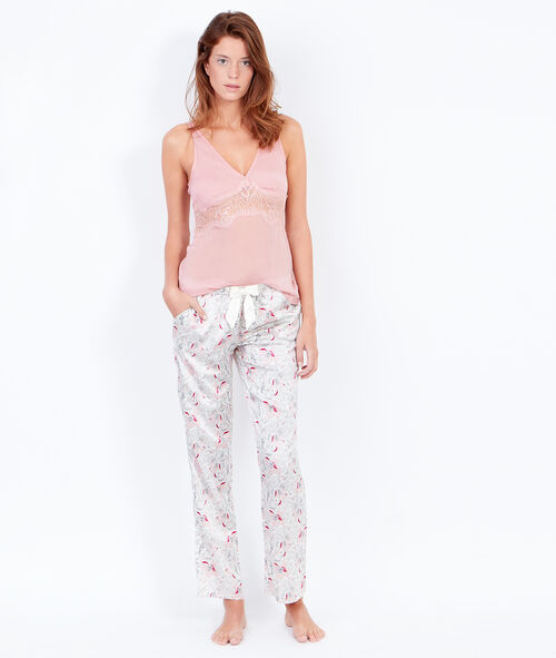 Printed pants with bow;${refinementColor}