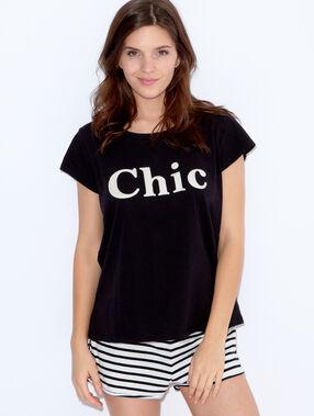 """Top imprimé """"chic"""" noir."""