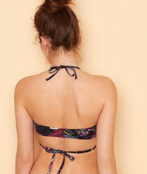 Haut de maillot de bain triangle imprimé fleurs folk