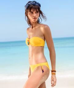 Haut de maillot de bain bandeau bretelles et pad amovibles, détail pompons jaune.