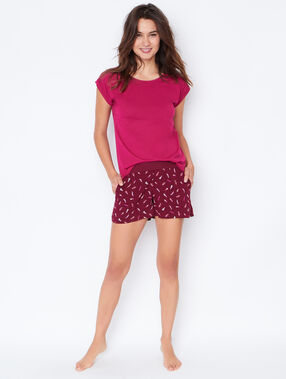Printed pyjama shorts burgundy.