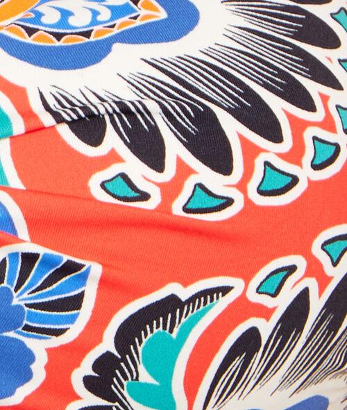 Haut de maillot de bain bandeau imprimé fleurs, entre bonnets twisté;${refinementColor}