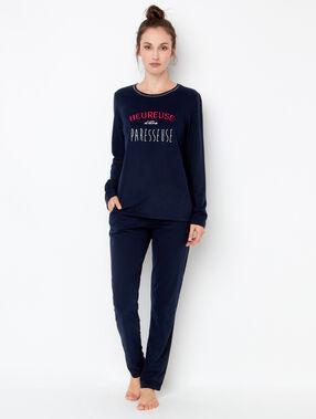 Printed pyjama top navy blue.