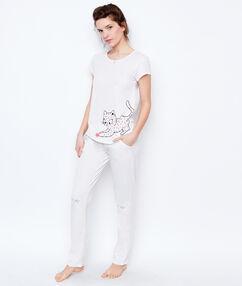 Pantalón estampado gatos blanco.